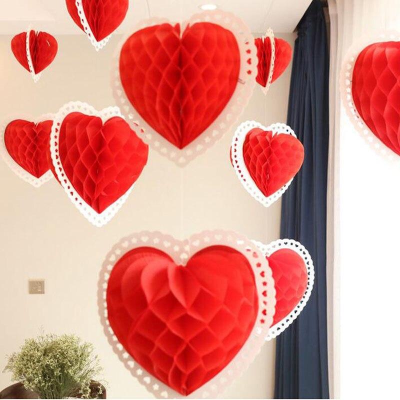 25/35/40cm Heart Shaped Honeycomb Balls Lanterns Love Tissue Paper Honeycombs Valentine Wedding Home Party Decoration ZA5823