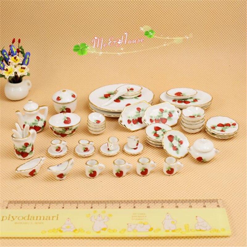 112 Dollhouse miniatura cocina vajilla cerámica muñecas muebles mini juego de té taza casa juguetes para niñas
