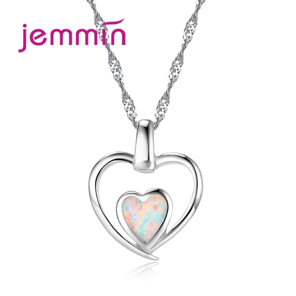925 argent Sterling Double coeur pendentif collier pour les mariées avec pierre opale bijoux fins femmes colliers pour mariage