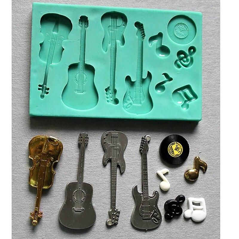 PRZY силиконовая форма Акустическая гитара электрическая гитара скрипка, музыкальная нотка украшения торта помадка/fimo плесень