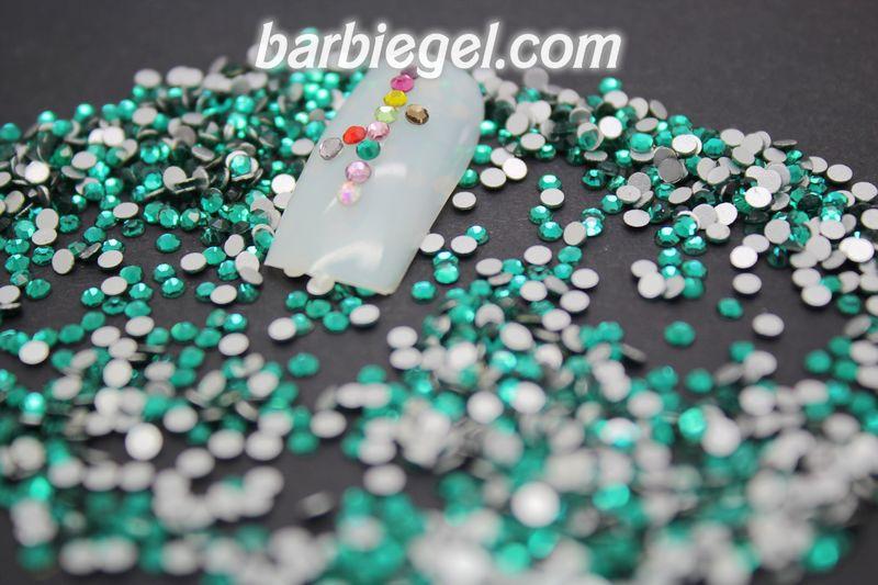 1480 unids/pack SS6 verde 2mm de alto brillo de cristal verde colorido arte de uñas de diamantes de imitación de diamante de alta calidad bruto diamante uñas