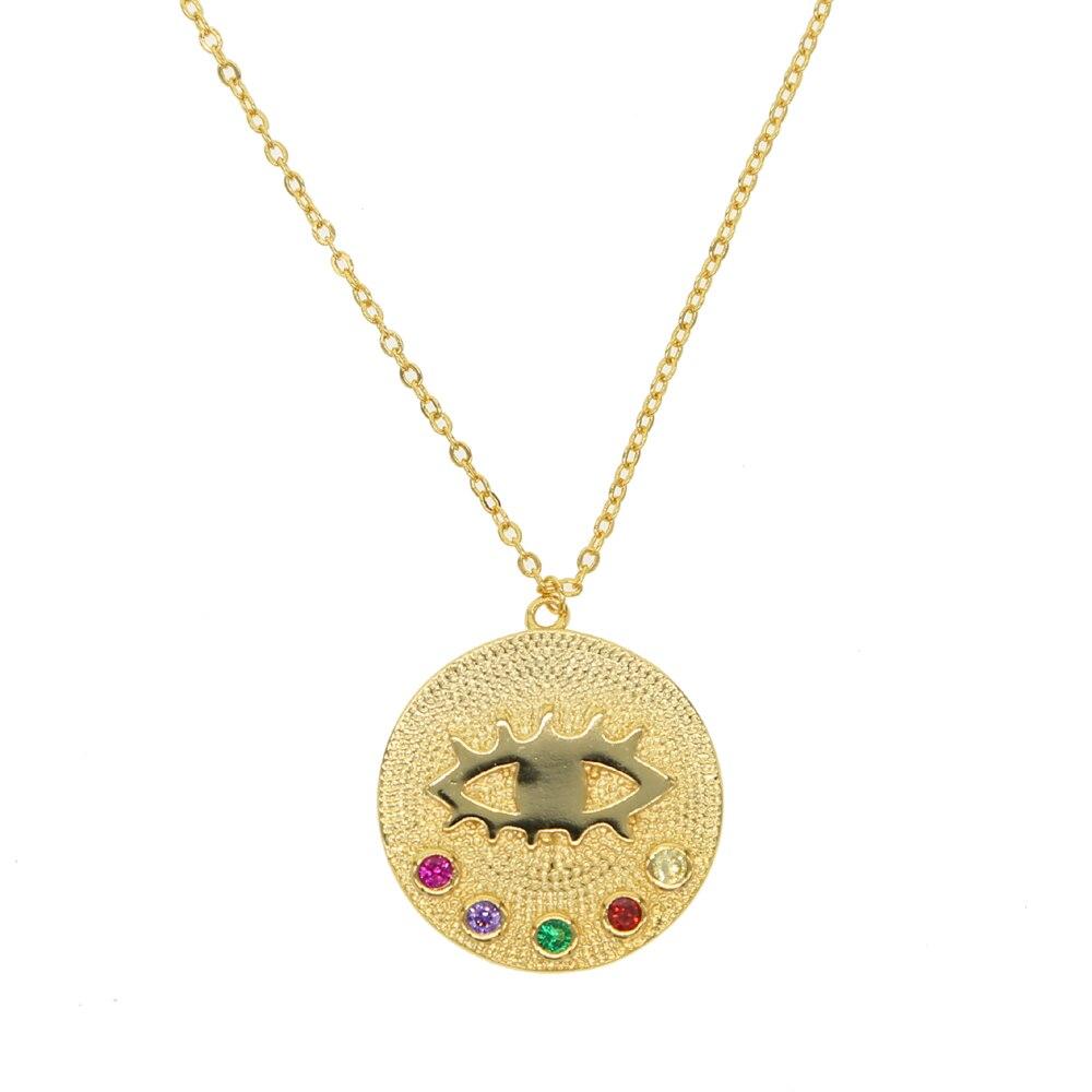 Nueva moda joyería de moda gargantilla de cobre color dorado disco encanto collar regalo para mujeres Boho capas Chokers girl