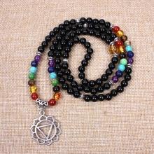 New 7 chakra wrist mala women 108 mala stone beads and Ancient silver stretch bracelet Meditation yoga necklace dropshipping