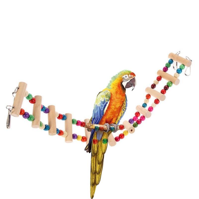 Bunte Papagei Haustier Vogel Holz Leiter Klettern Cableway Hamster Spielzeug Seil Papagei Bites Harness Käfig Sittich Budgie 4 größen