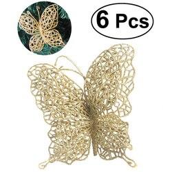 6 pçs decoração de natal para casa 7cm borboleta artificial flor decoração da árvore de natal ornamentos gota fontes festa de casamento