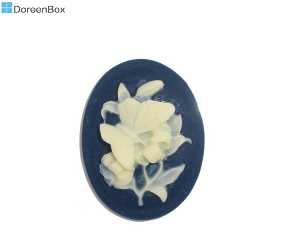 Doreen Box precioso 10 resina flor Oval adorno de camafeo conclusiones (B06634)