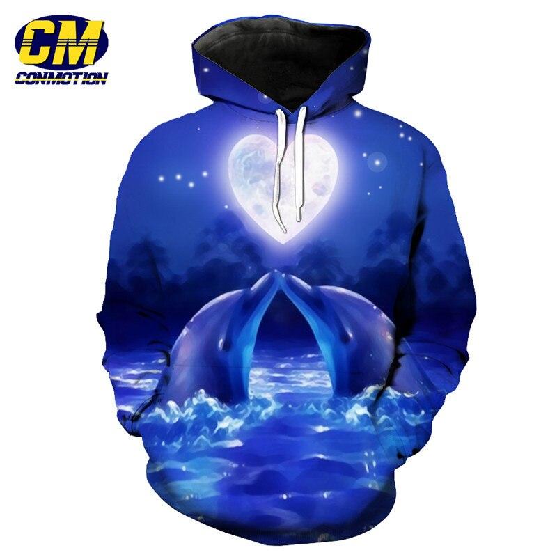 Parejas 3d Dolphin púrpura Sudadera con capucha hombres mujeres moda jerseys ropa deportiva tamaño EUR