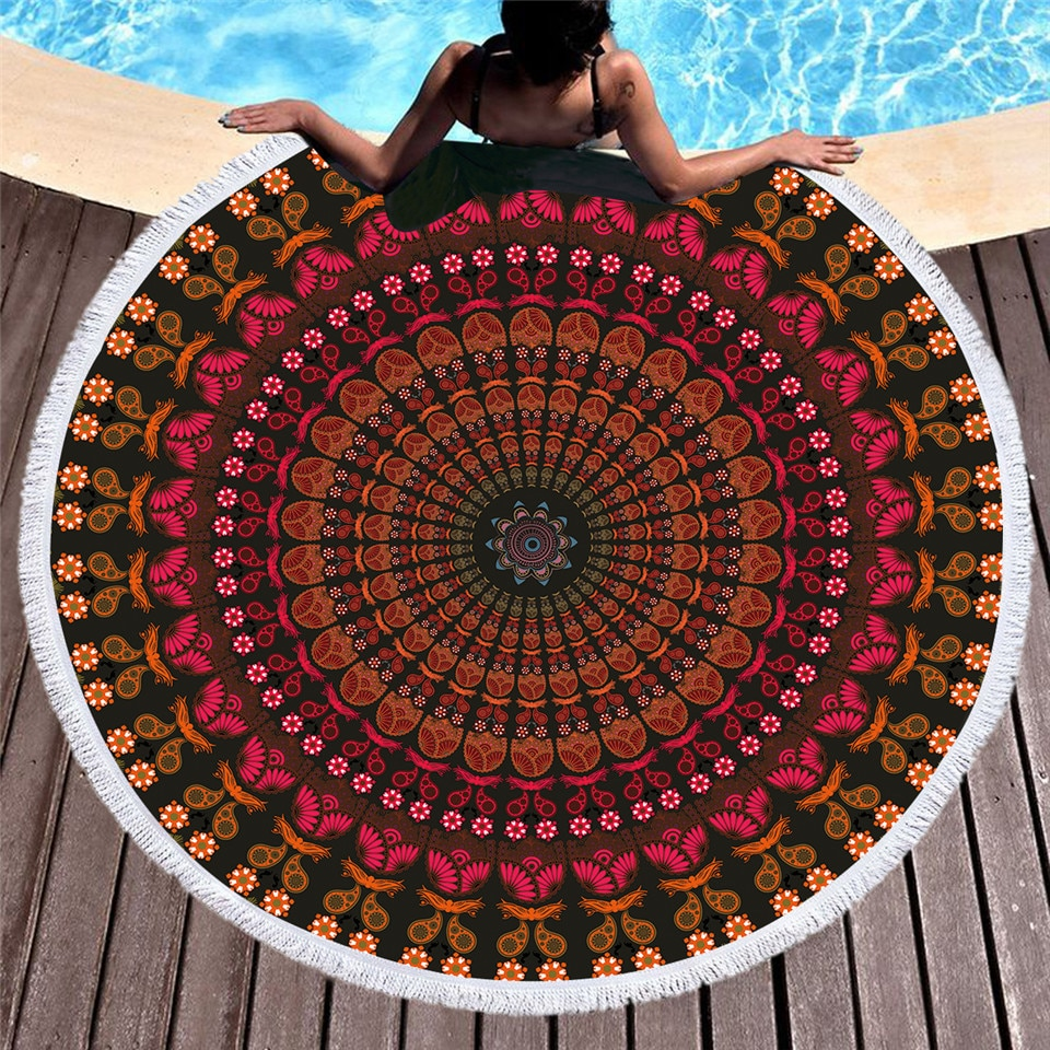 Yoga Blanket Ma India Style 150cm Round Microfiber Bikini Cover Up Beach Tassel Towel Bath Shawl Thick Picnic Mattress Tapestry