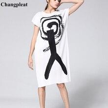 Changpleat 2019 Summer New Printed Women dress Miyak Pleated Fashion Design loose O-neck short sleeve Large Size Dresses Tide