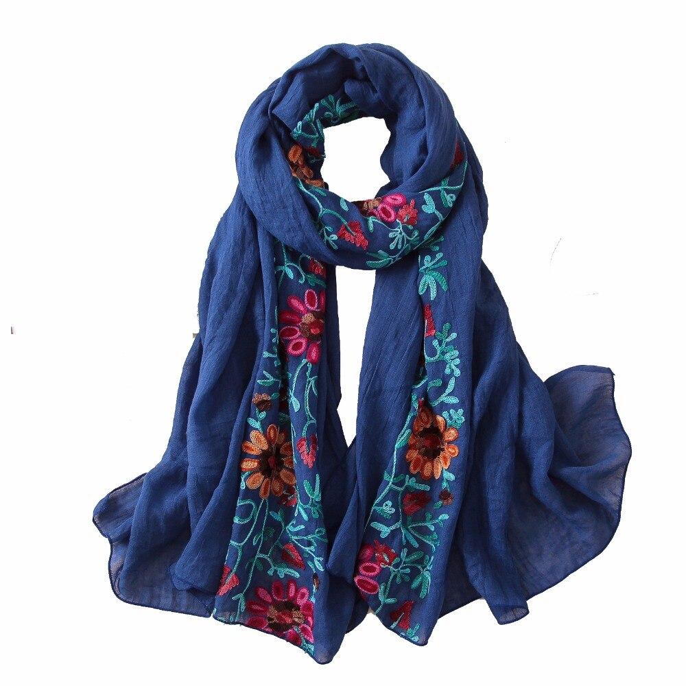 2020 stickerei frauen schal vintage sommer pashmina baumwolle schals und wraps dame floral bandana weibliche hijab winter schals