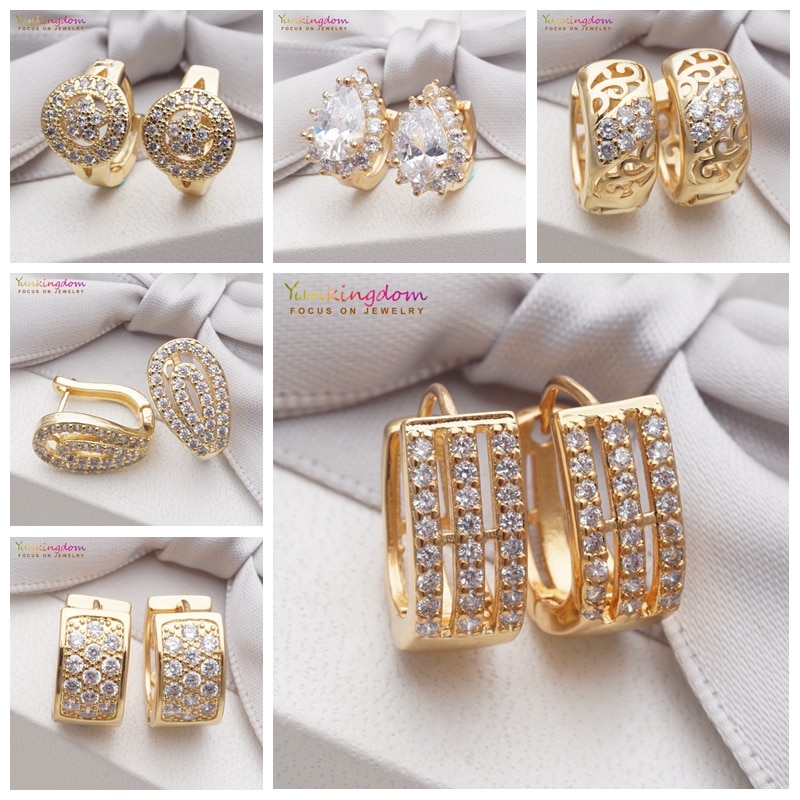 Yunkingdom novo 2019 jóias círculo ouro cristal brinco zircônia cúbica pequena argola brincos para mulher 6 estilos