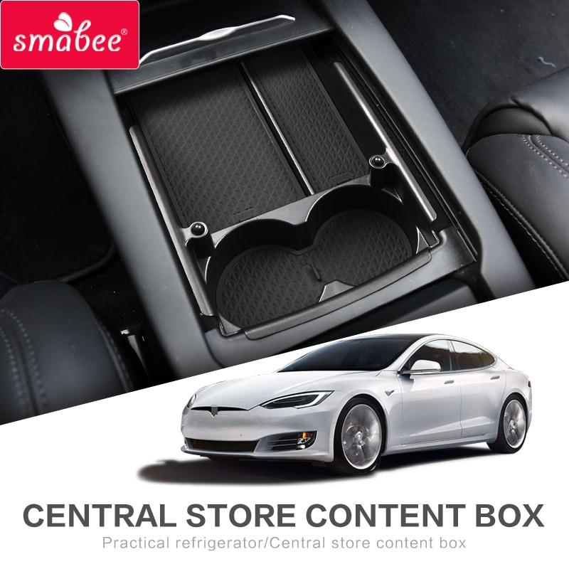 Smbee caja para reposabrazos central de coche para Tesla modelo X modelo S accesorios interiores de almacenamiento organizador de consola central negro