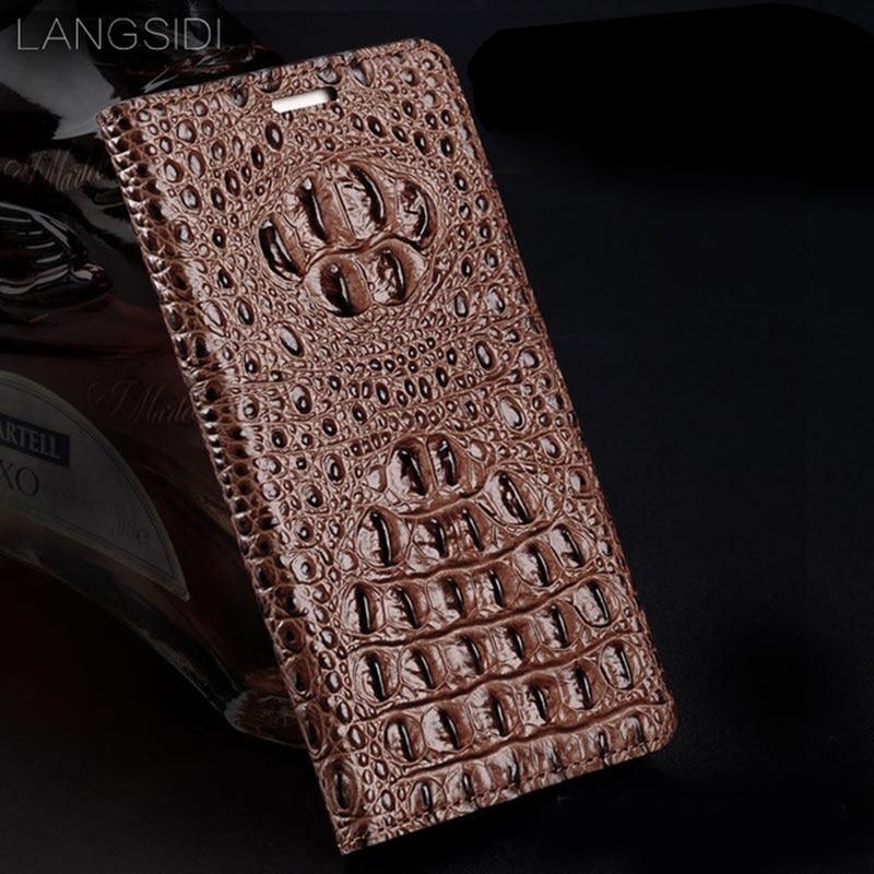 Langسيدي-جراب جلد أصلي لهاتف Huawei p30 lite p40 p20 ، جراب هاتف مصنوع يدويًا ، تمساح