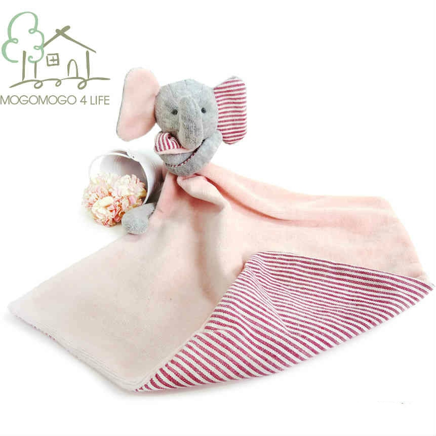 Luxury Pink Animal Comfort for Baby Girls Newborn Multifunction Towel Soft Cuddle Snuggle Elephant Security Blanket for Infant