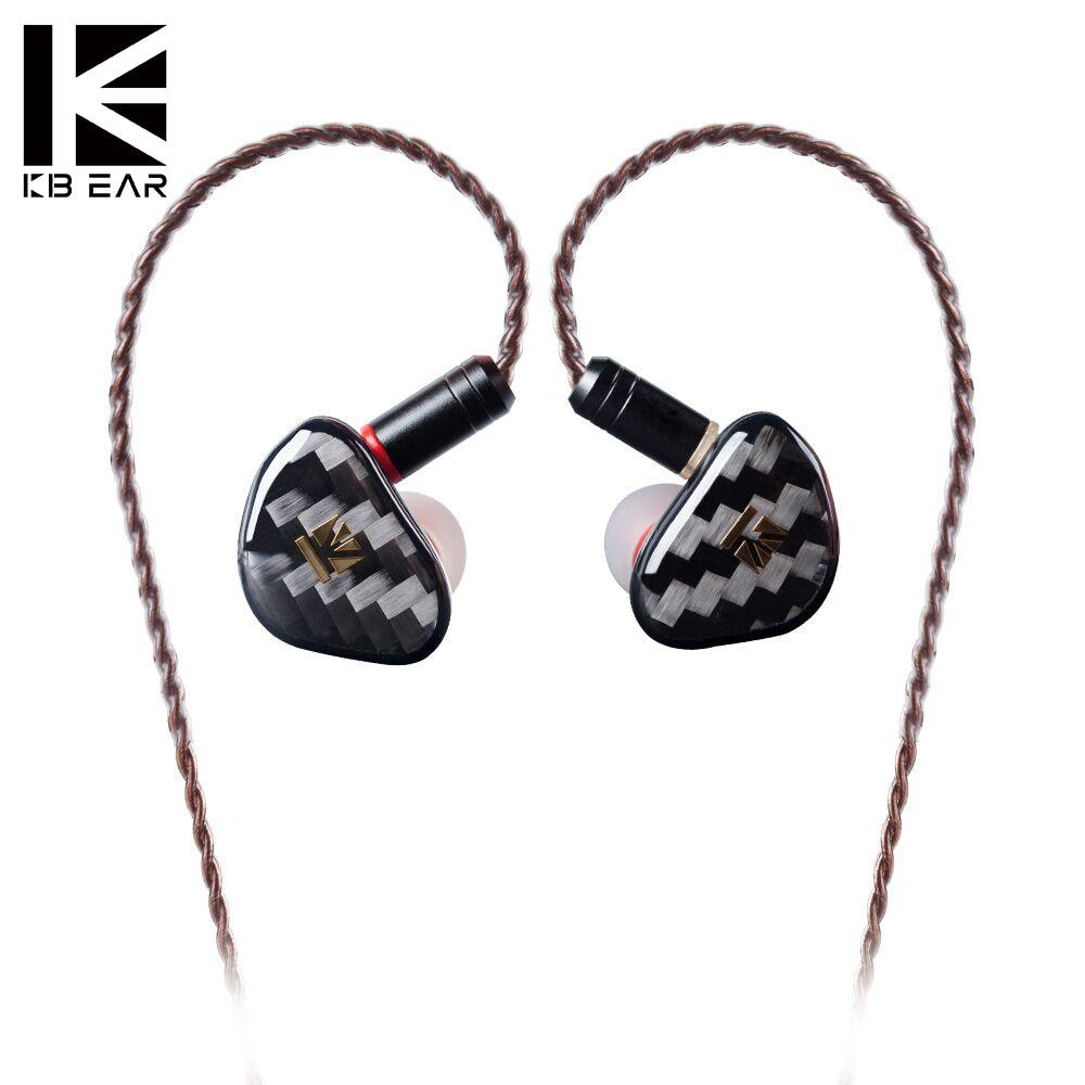 KBEAR-Auriculares con Monitor de Audio, de música, deportivos, HIFI, con controlador dinámico de ópalo, MMCX, color negro, con LOGO plateado de Metal