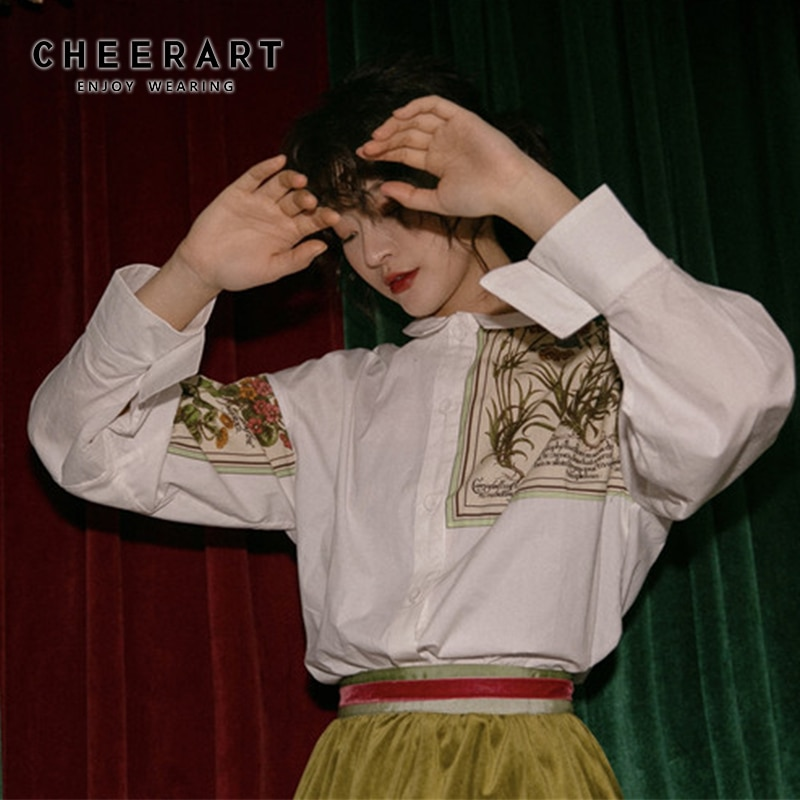 Cheerart, camisa de manga larga para mujer, Top, blusa con impresiones florales, camisa suelta, blusa alta y baja, camisa blanca de diseñador, ropa de alta moda