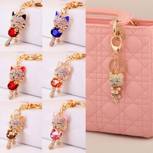 1Pcs Cat Key Ring Keychain Gold Crystal Rhinestone Women Handbag Charm Metal Key Chains Car Key Ring