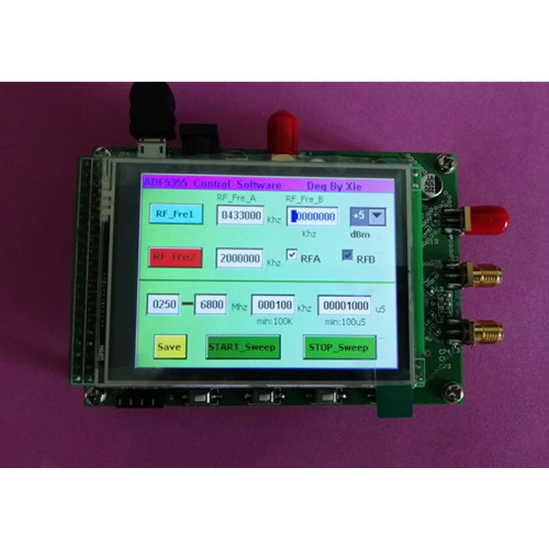 Módulo ADF5355, pantalla táctil a Color, fuente de señal RF, sintetizador de frecuencia de microondas VCO PLL