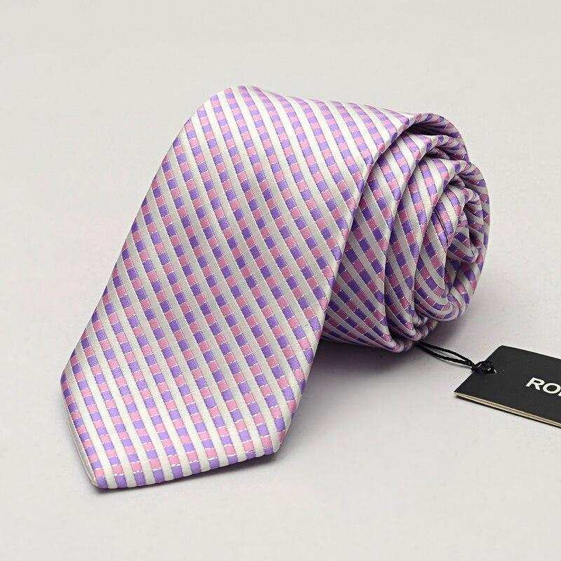 NEW 2019 Violet Plaid Ties for Men 8cm Designer Fashion Brand Necktie Suit Mens Ties Wedding Party Gravata Corbatas Cravates