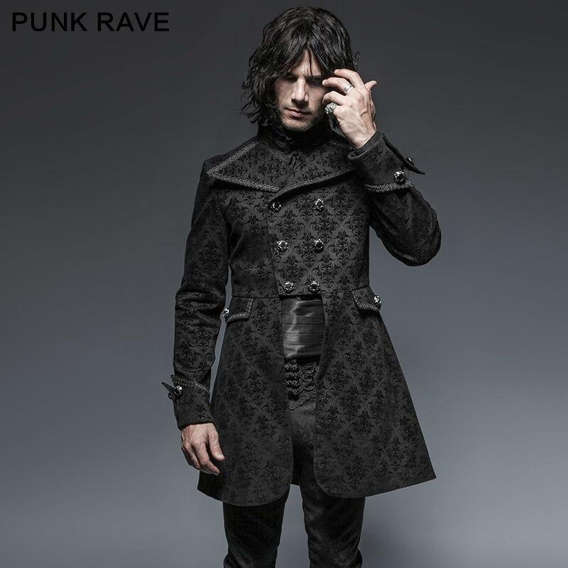 Punk Rave hombres chaqueta gótica negro Damasco Steampunk VTG Regencia aristócrata S-4XL Y640