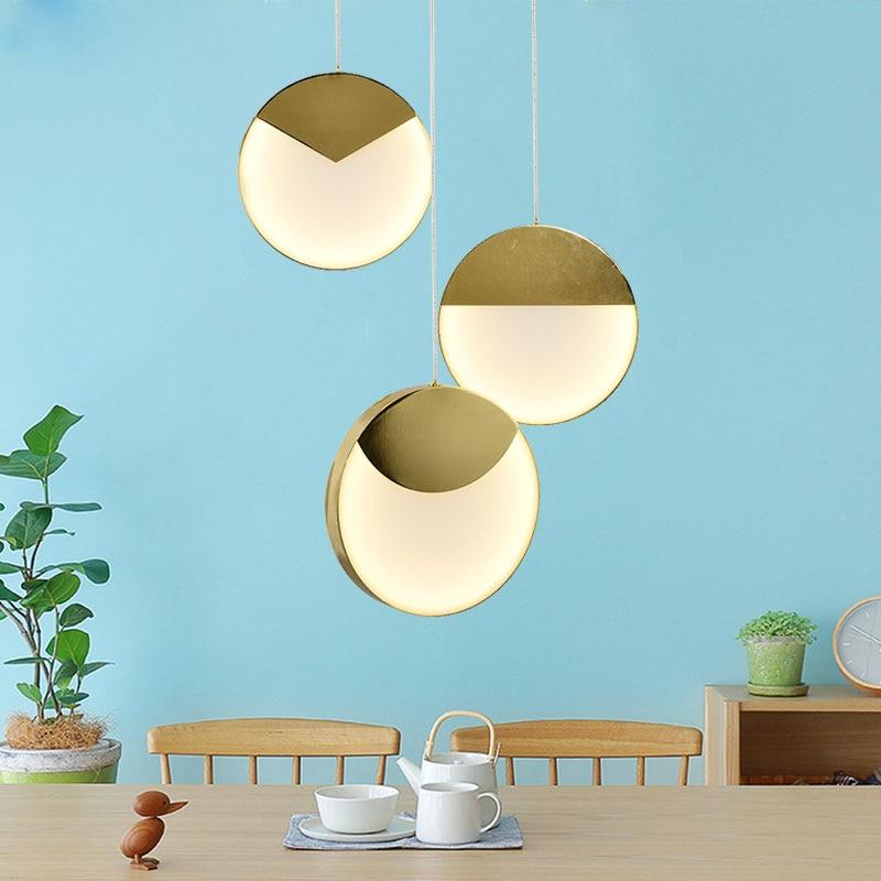 Lámpara colgante LED geométrica creativa Postmodern, arte redondo, Bar, comedor, luces colgantes individuales, lámparas Led de Bar, envío gratis