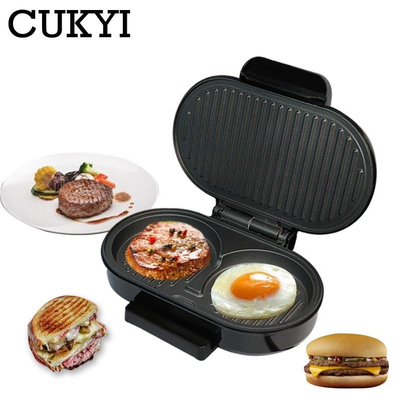 CUKYI Mini Steak Panini hamburguesa a la parrilla máquina tostadora de carne sartén para huevos sandwichera ciabatta pan horno de desayuno barbacoa