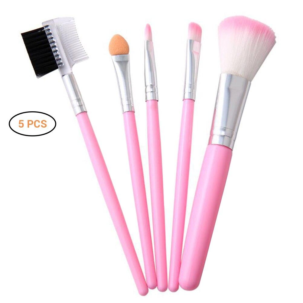 5 pçs pincéis de maquiagem profissional kit conjunto pó sombra pestana bochecha escova conjunto ferramenta cosméticos rosa lidar com maquiagem escova