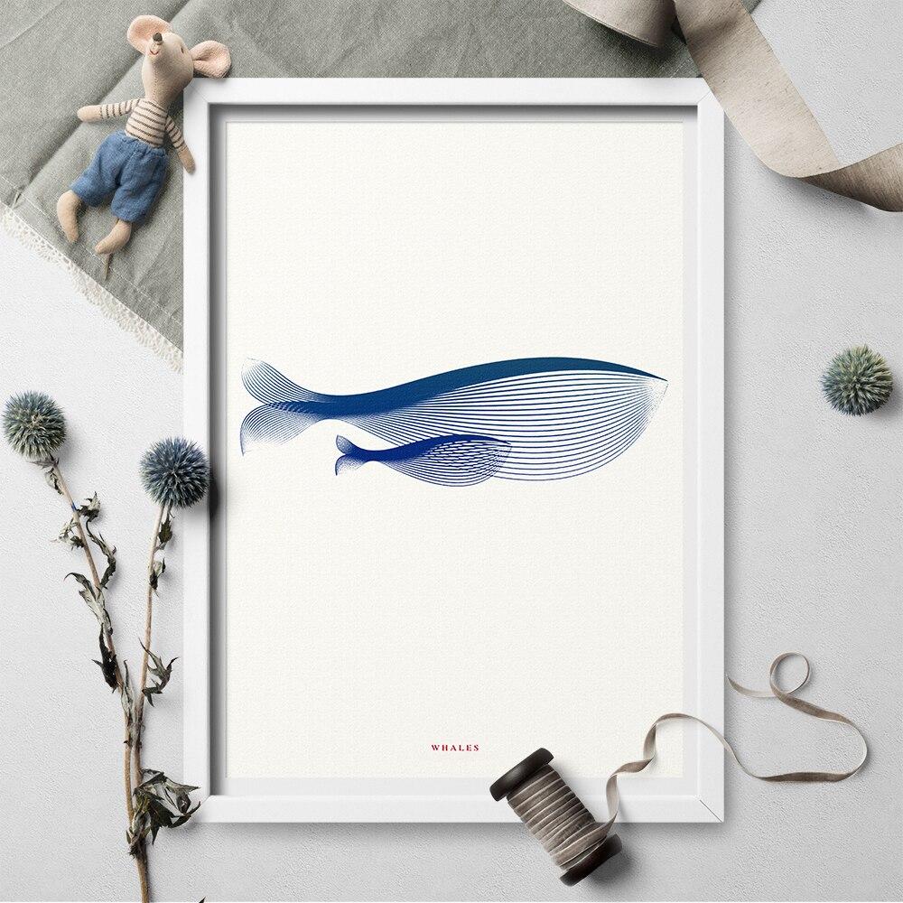 Minimalismus Blau Whale Leinwand Malerei Wand Kunst Poster Und Drucke Wand Kunst Leinwand Malerei Bild Für Wohnzimmer Wohnkultur