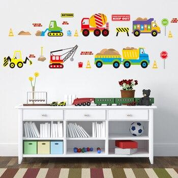 Cartoon cars kids room wall sticker for Children's room baby bedroom wall decals window poster 3D car stickers wallpaper