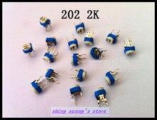 100 pcs/Lot 202 2 K ohm 2 K R Trimpot tondeuse Pot résistance Variable Type Horizontal