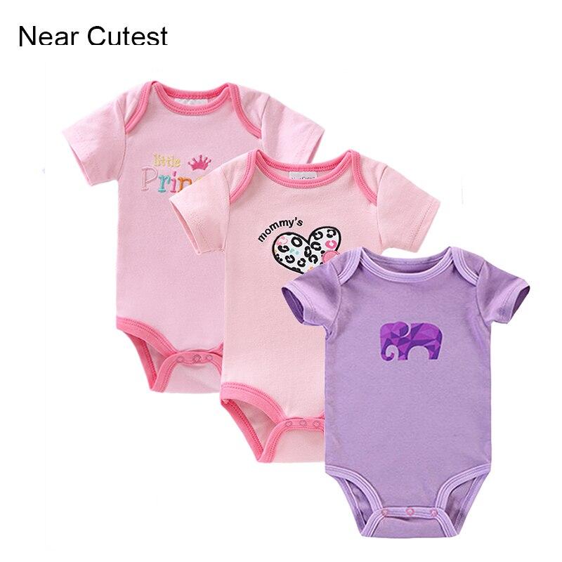 Near Cutest 3 unids/lote verano bebé recién nacido mameluco Roupas Bebes bebé niño Lyette Body Bebe ropa para bebé recién nacido bebés
