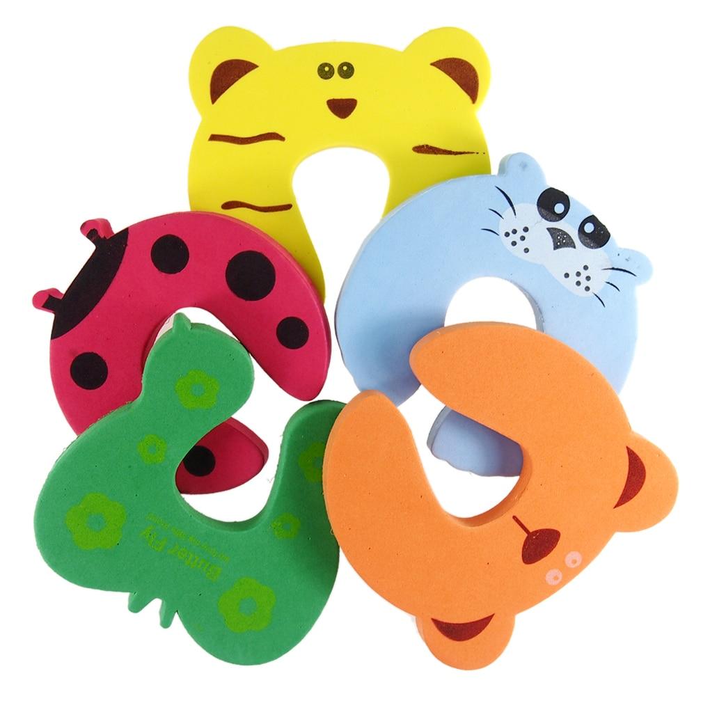 Gran oferta 5 unids/set Tope de puerta Animal de dibujos animados Color aleatorio bebé niños seguridad tope de espuma para puerta