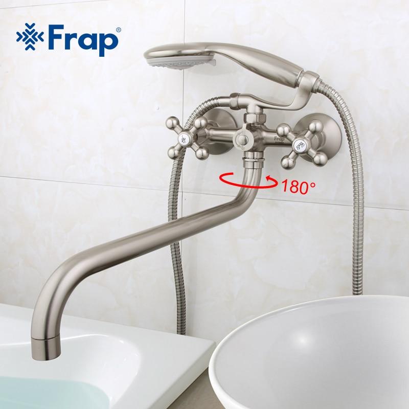 Frap 1 مجموعة 36 سنتيمتر طول المخرج استدارة النحاس الجسم النيكل نحى الحمام دش صنبور مع ABS دش رئيس F2619-5