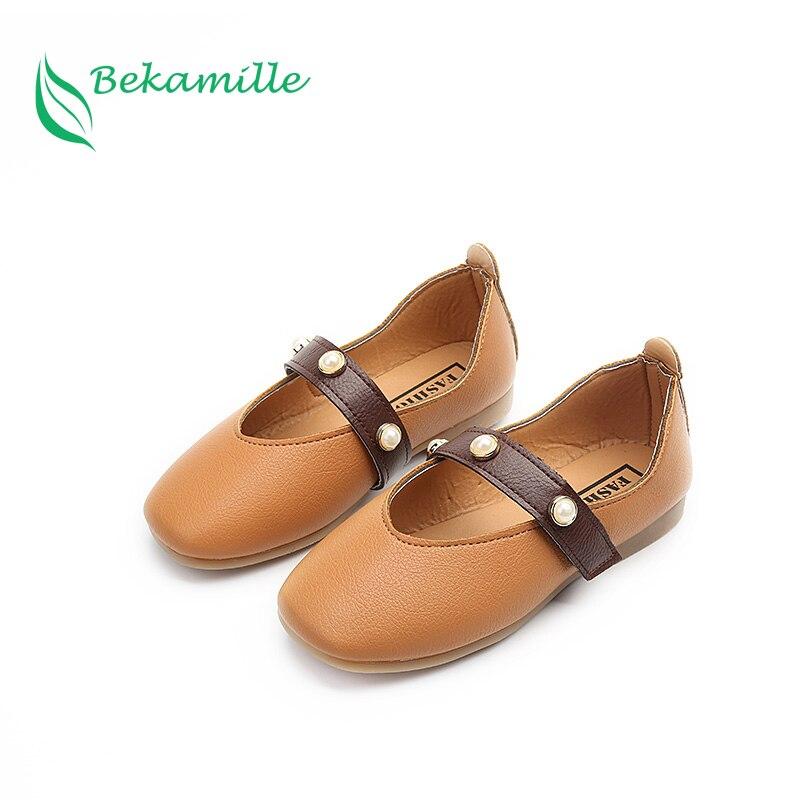 Zapatos Bekamille de otoño para niñas, zapatos de piel de perlas a la moda de princesa para niños, zapatos casuales de tacón plano, zapatos infantiles para niñas, sandalias en 4 colores