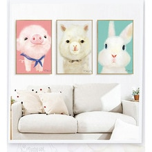 Dessin animé Animal Alpaca personnalisable   Mignon, photo tête, ours polaire, pingouin animaux, toile pour enfants, peinture, affiche artistique