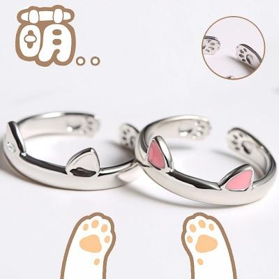 Серебряное кольцо с кошачьими ушками и открытым дизайном, милое модное Ювелирное кольцо для женщин, подарок для молодых девушек, регулируемое кольцо, оптовая продажа