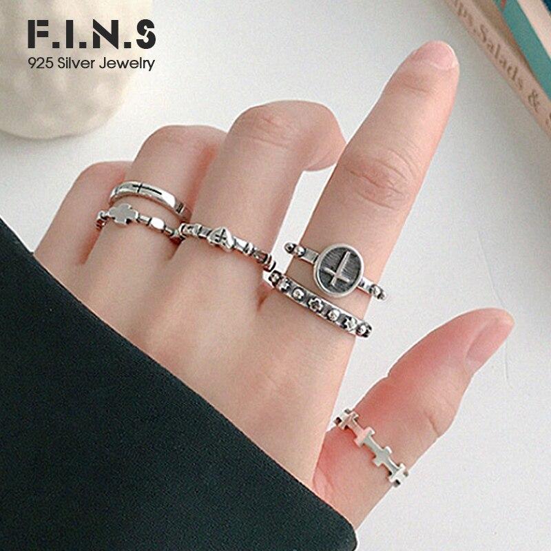 F.i.n.s personalidade do vintage 925 anéis de prata esterlina empilhável cruz dedo anel de prata 925 aberto punk feminino anel fino jóias
