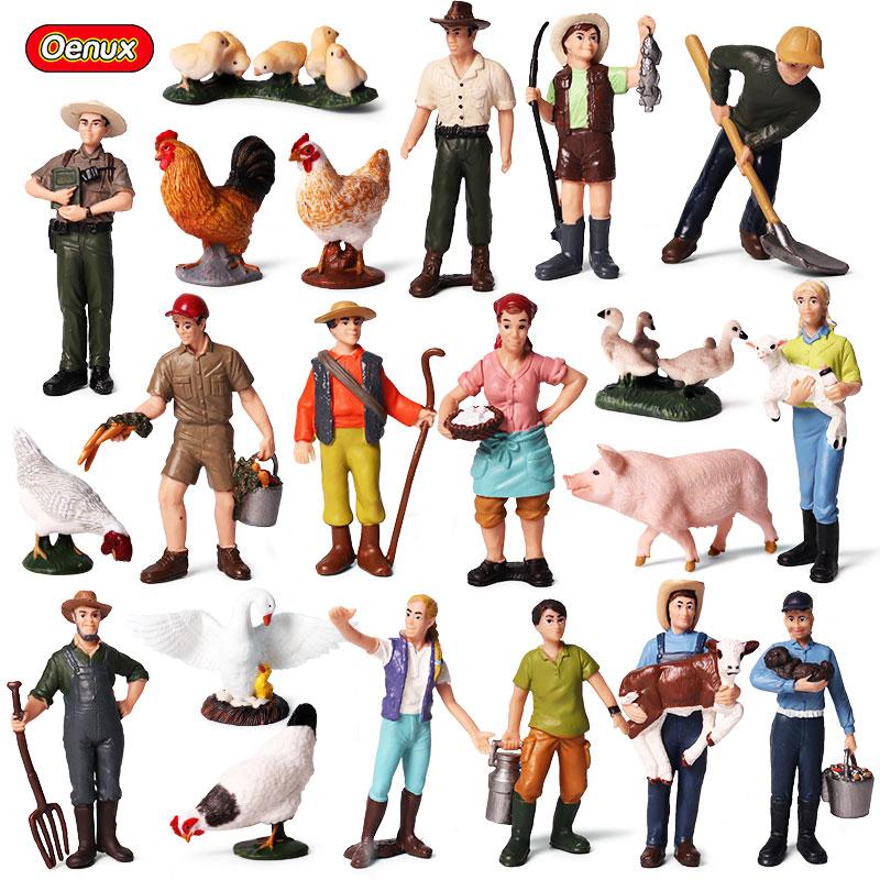 Oenux かわいい園家畜スタッフシミュレーション農民モデルアクションフィギュア労働者置物動物コレクション & 教育素敵なおもちゃ