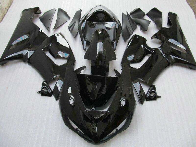 Personalizar piezas de la motocicleta para Kawasaki NINJA ZX 6R 2005 2006 kit de carenado zx6r 05 06 todo negro brillante juego de carenados HP52