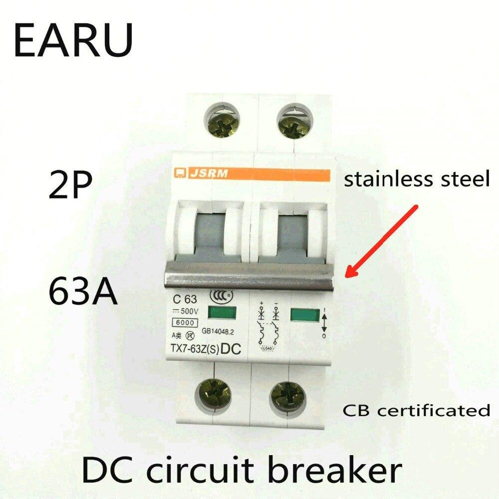 2P 63A DC 500V interruptor de circuito de CC MCB para PV sistema fotovoltaico de energía solar batería C curva CB certificado Din Rail montado