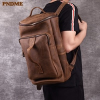 PNDME vintage genuine leather men's backpack simple crazy horse cowhide designer large capacity travel bagpack luxury bookbags