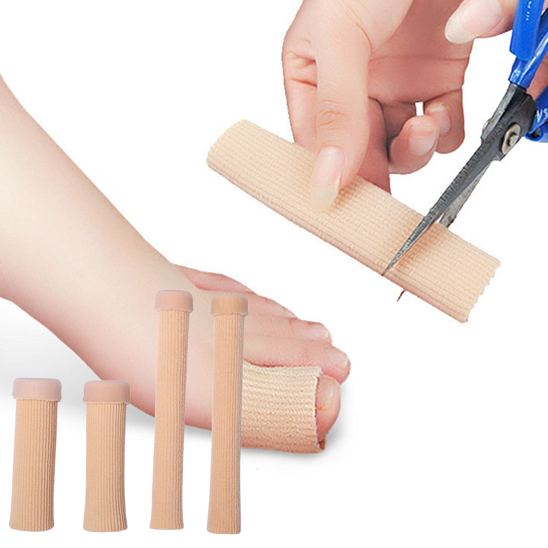Gel de tela venda tipo tubo protectores de dedos y dedos del pie protector de alivio de dolor de pies para dedos plantillas de cuidado de pies 1 Uds 15cm 10cm