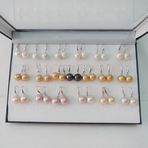 FREE SHIPPING 100% nature freshwater pearl earring,925 silver hook,AAA black Pearl,11-13 big perfect round pearl earring
