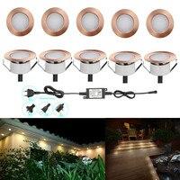 10pcs/lot 47mm Copper Warm White Outdoor Garden Yard Terrace Kickboard Recessed Kitchen LED Deck Rail Step Stair Soffit Lights