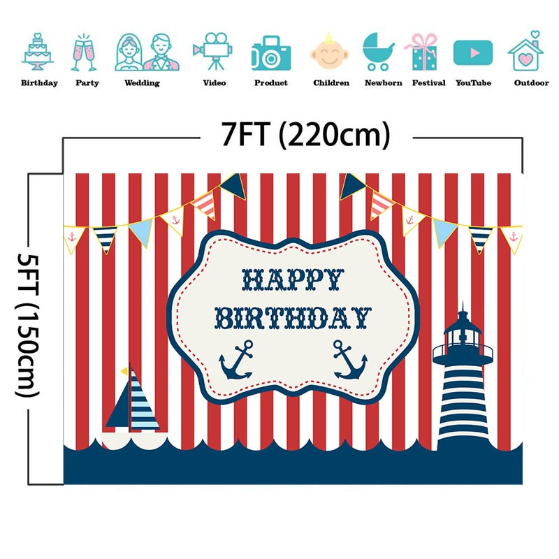Pirate Theme Photography Backdrops Anchor Nautical Boat Birthday Party Backdrop Red and White Stripes Custom Photo Background enlarge