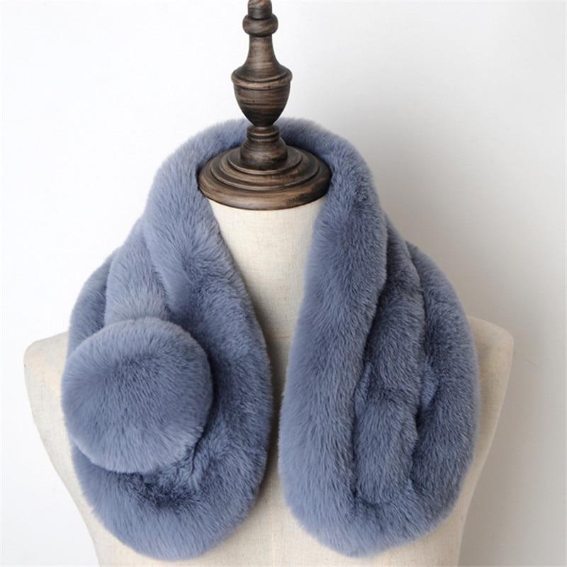 Unisex invierno calido bufanda de piel falsa pelo grueso hombrey mujer niños...