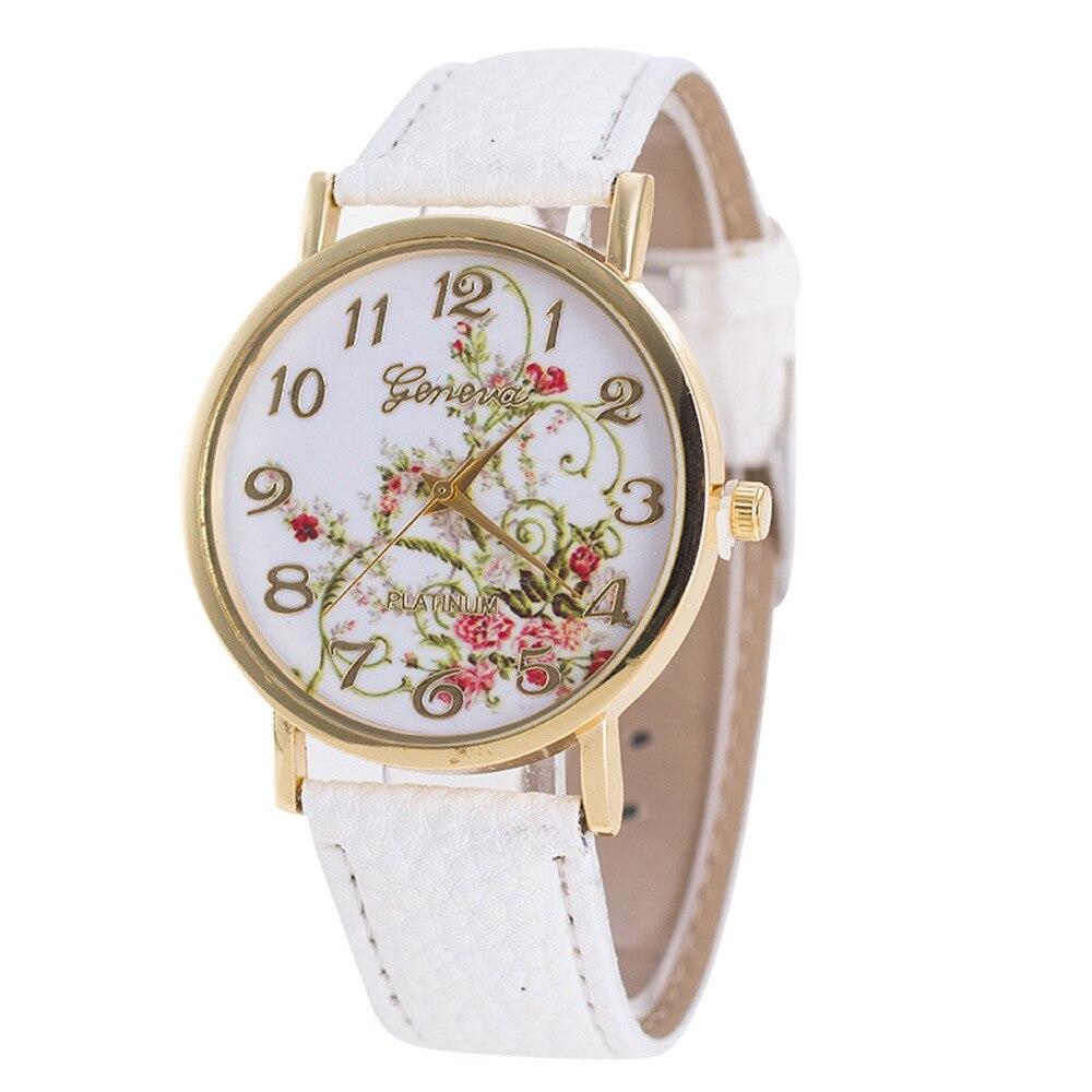 Reloj de mujer Geneva, moda 2020, relojes de flores, banda deportiva de cuero, reloj de pulsera de cuarzo analógico para mujer, reloj Masculino