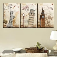 modern home decoration statue of liberty big ben poster canvas painting 3 pictures living room wall art painting can be customiz