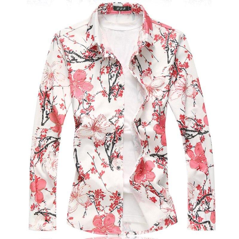 Multi cores casual camisa masculina 2020 primavera manga longa camisa masculina plus size moda floral camisas 7xl 6xl 5xl-m