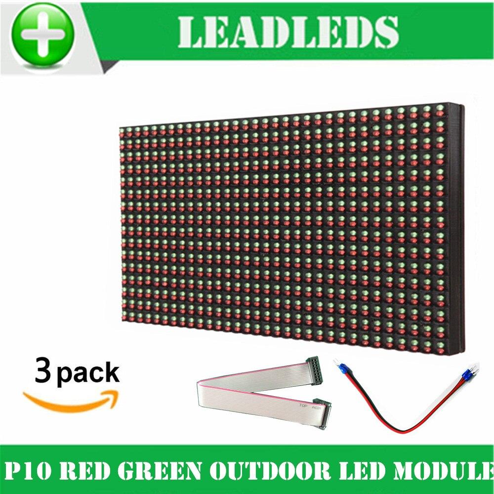 (3 unids/lote) p10 Módulo De Pantalla led 32*16 píxeles DIP al aire libre rojo + verde doble color led panel Tablero de muestra cartelera de la pantalla led